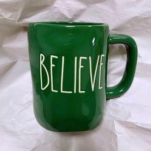 Rae Dunn green Believe Christmas mug